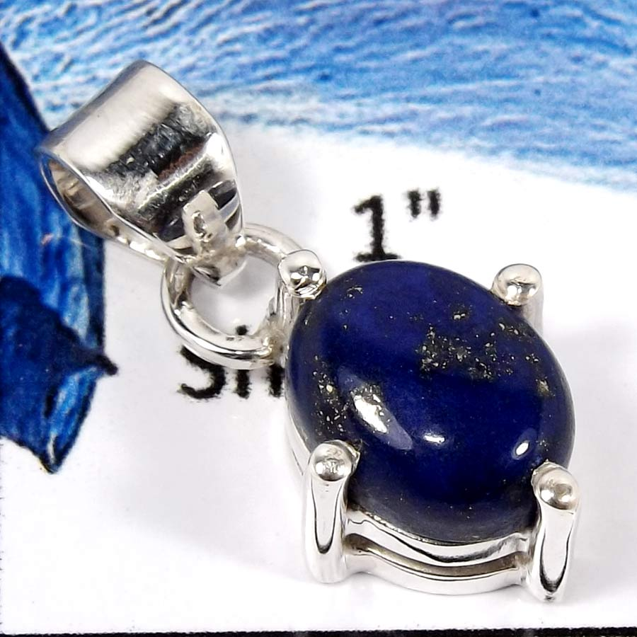 Lapis Lazuli C - SPS899-Adorable Colorful Prong Setting Pendants 925 Sterling Silver