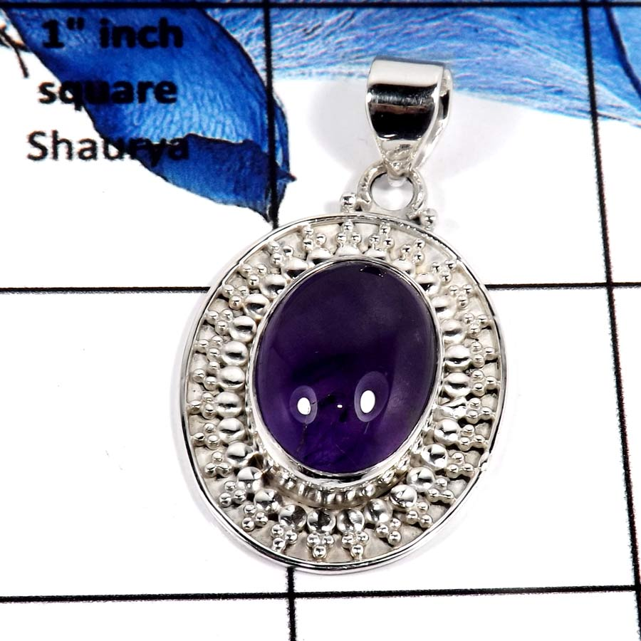 Amethyst Cab E - SD531-Handcrafted Designer Pendant Cabochon Gemstone 925 Sterling Silver
