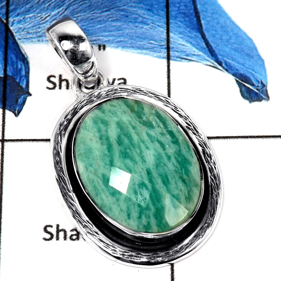 Amazonite Cut B - ISP636-Natural Amazonite Cut Gemstone Plain Setting Pendant 925 Sterling Silver