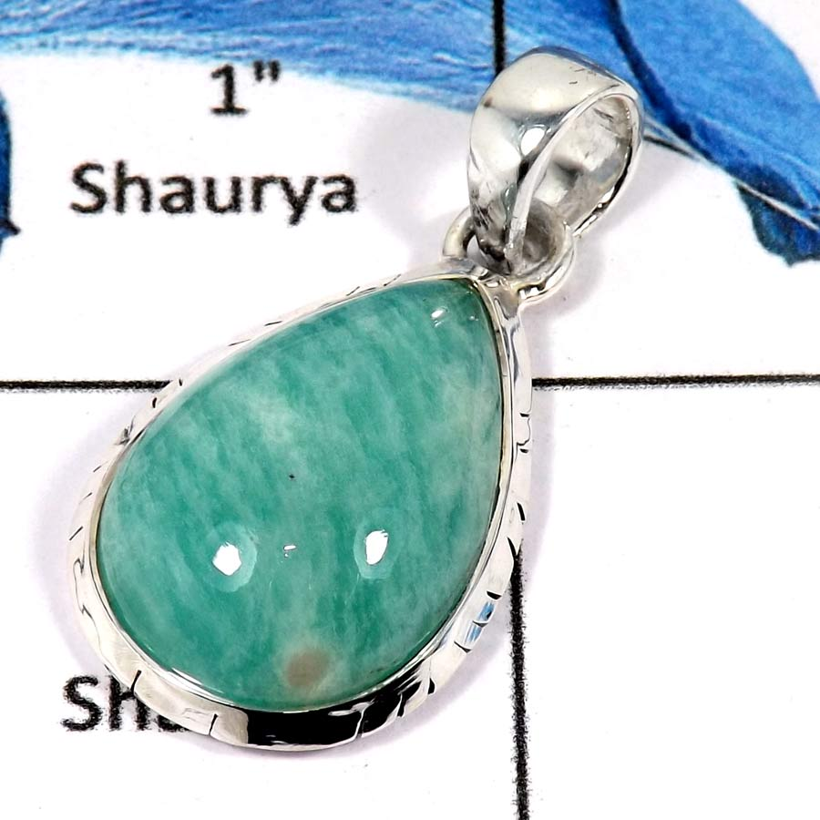 Amazonite Cab O - ISP617-Solid 925 Sterling Silver Amazonite Cab gemstone Handmade Pendant
