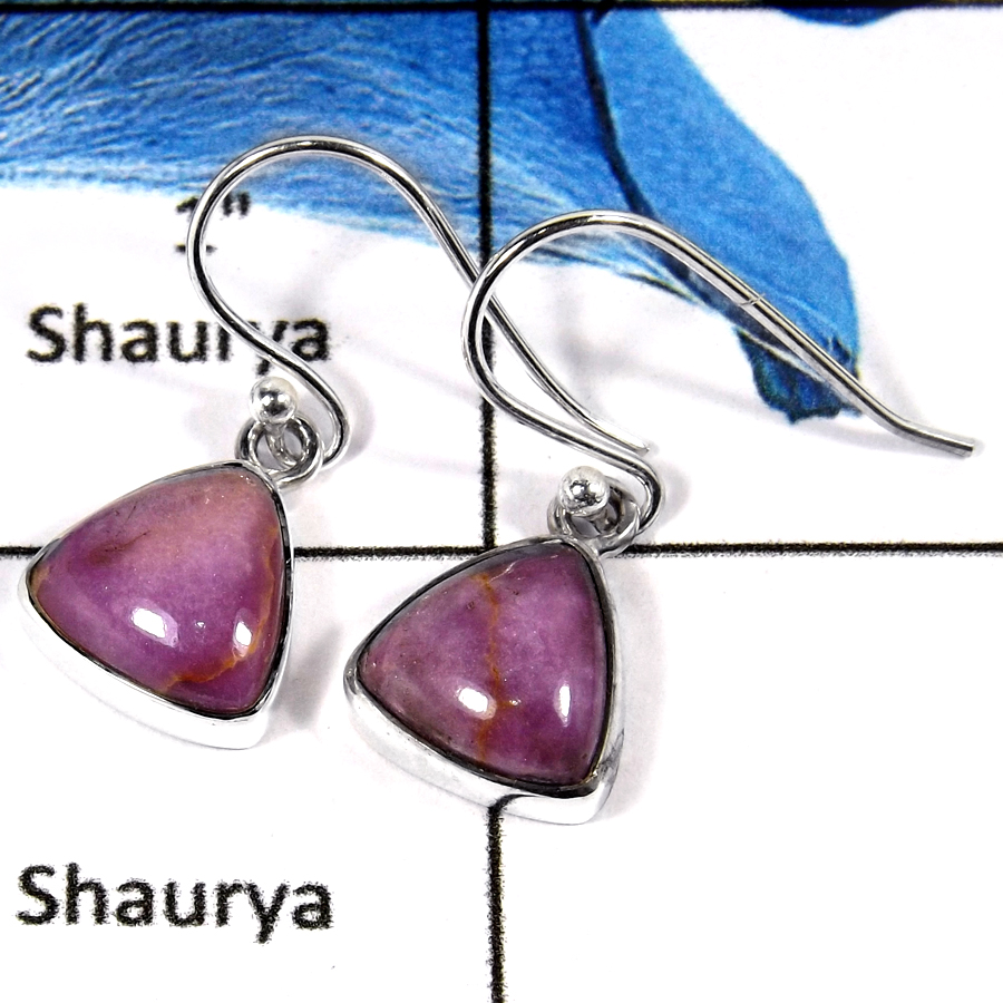 Phosphosiderite Cab B - SPE802-Natural Phosphosiderite Cabochon Stone Plain Setting Earrings 925 Sterling Silver