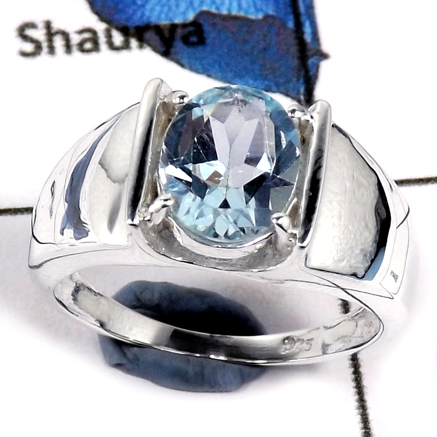 Blue Topaz Cut J - SCR794-Indian Factory Made Cut Gemstone 925 Sterling Silver Casting Ring
