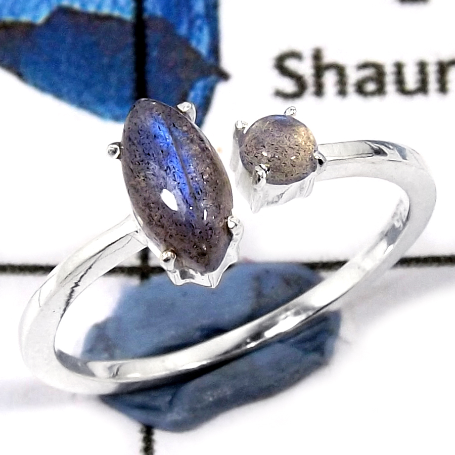 Labradorite Cab O - SFJ892-Party Wear Semiprecious Cab Gemstone Light Weight Ring 925 Sterling Silver