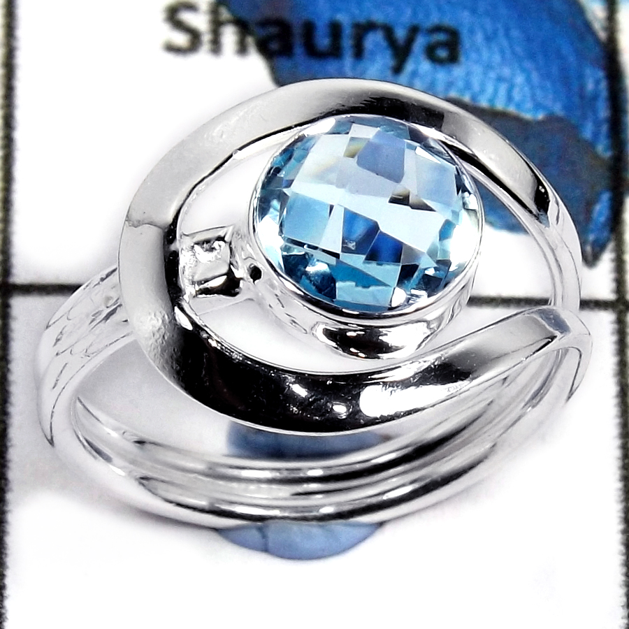 Blue Topaz Cut E - CMJ804-Handmade Design Cut Gemstone Solid 925 Sterling Silver Ring