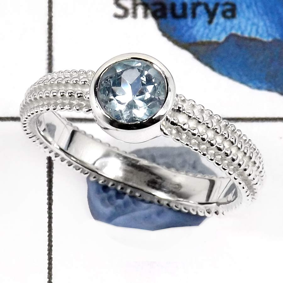 Blue Topaz Cut H - SCR783-Glorious Faceted Cut Gemstones Designer Casting Rings 925 Sterling Silver