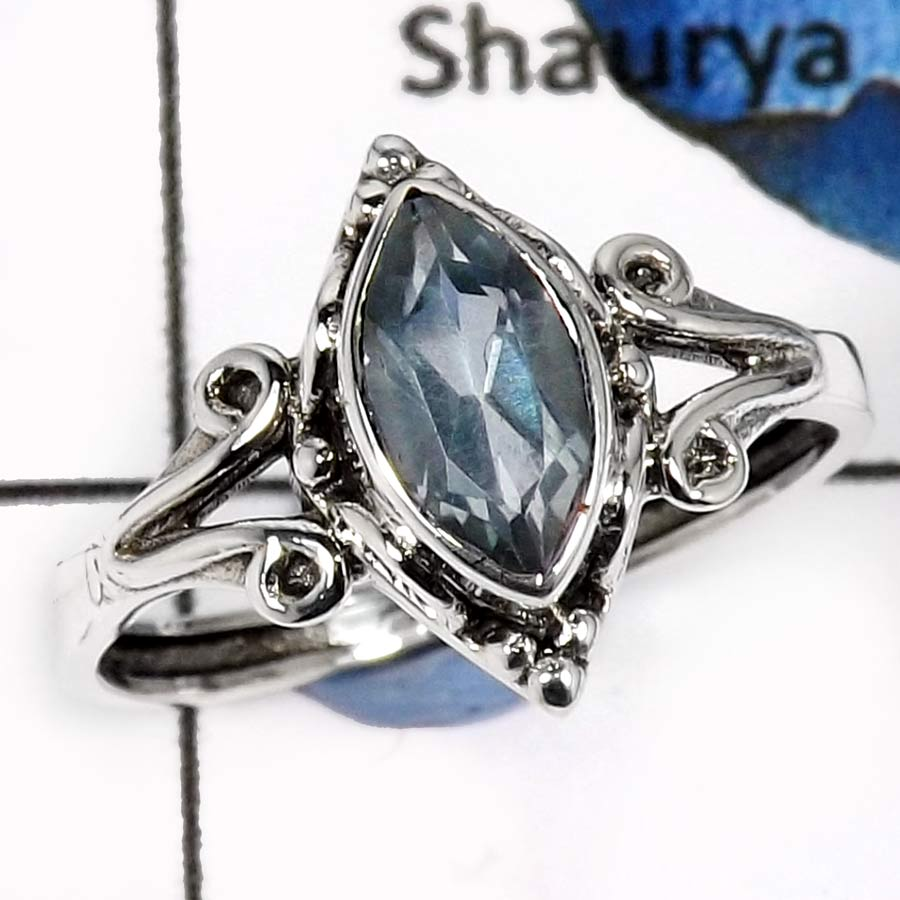 Blue Topaz B - RBS853-Adorable Cut & Cab Gemstones Designer Baby Rings 925 Sterling Silver
