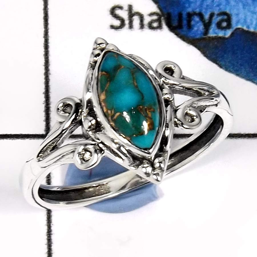 Blue Copper Turquoise D - RBS853-Adorable Cut & Cab Gemstones Designer Baby Rings 925 Sterling Silver