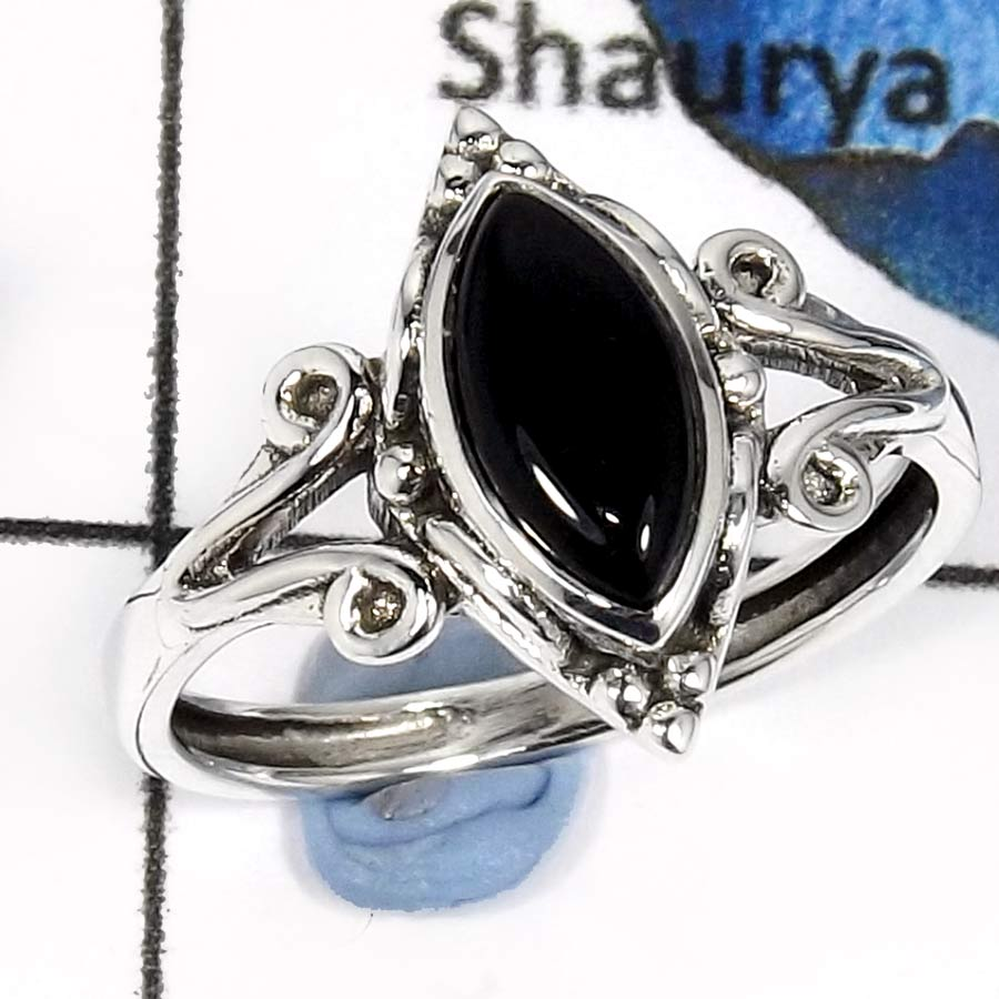 Black Onyx Cab F - RBS853-Adorable Cut & Cab Gemstones Designer Baby Rings 925 Sterling Silver
