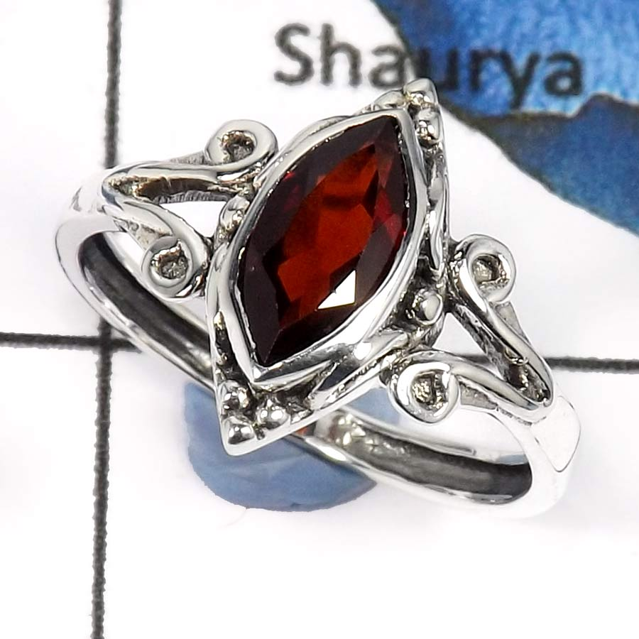 Garnet Cut O - RBS853-Adorable Cut & Cab Gemstones Designer Baby Rings 925 Sterling Silver