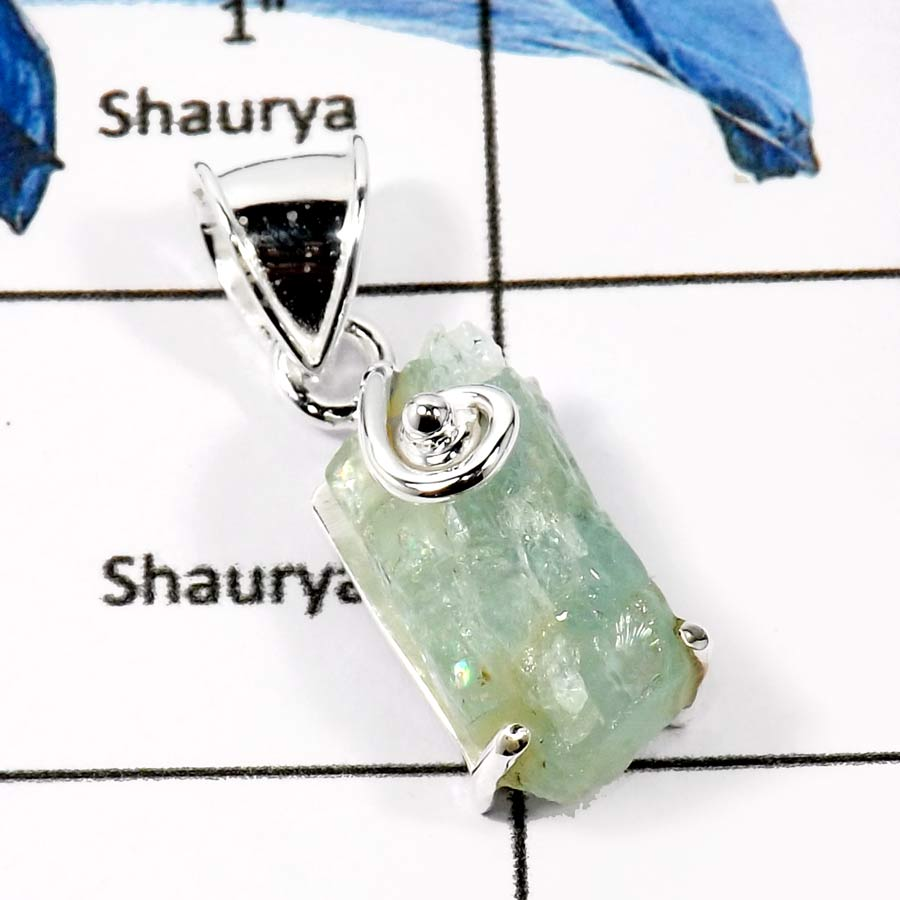 Aquamarine A - FSP950-Natural Rough Gemstones Fashionable Designer Pendants 925 Sterling Silver
