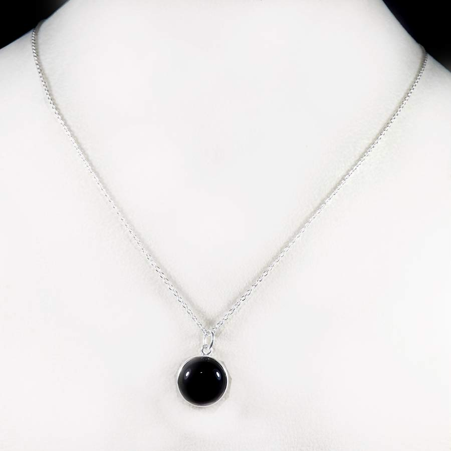 Black Onyx A - BZN979-Glamorous Colorful Chain Bezel Necklace 925 Sterling Silver