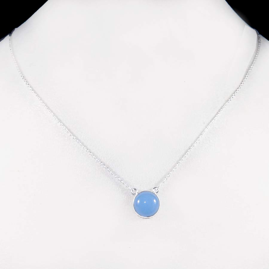 Blue Chalcedony B - BZN979-Glamorous Colorful Chain Bezel Necklace 925 Sterling Silver