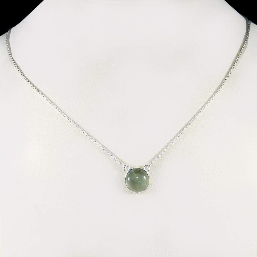 Prehnite D - BZN979-Glamorous Colorful Chain Bezel Necklace 925 Sterling Silver