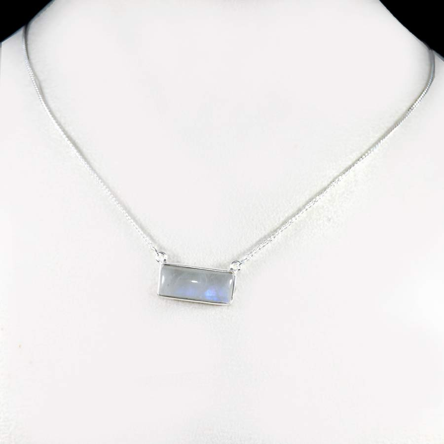 Rainbow Moonstone E - BZN979-Glamorous Colorful Chain Bezel Necklace 925 Sterling Silver