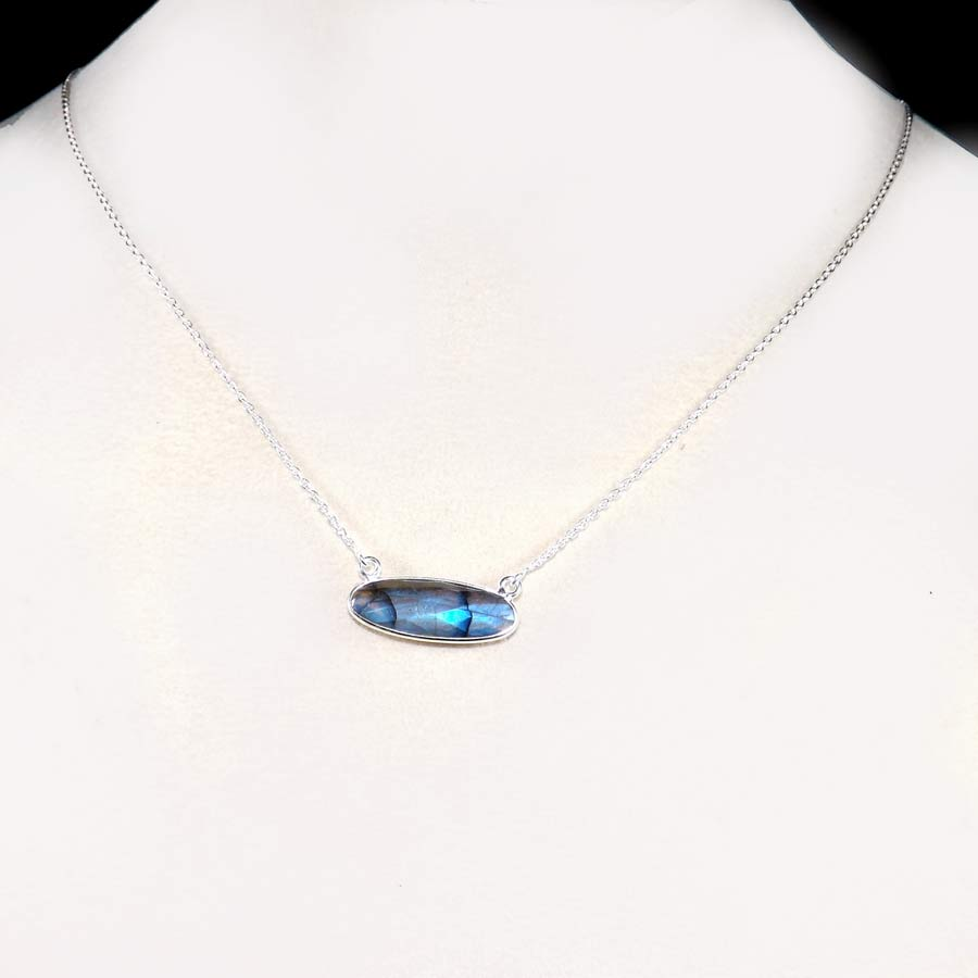 Labradorite J - BZN979-Glamorous Colorful Chain Bezel Necklace 925 Sterling Silver