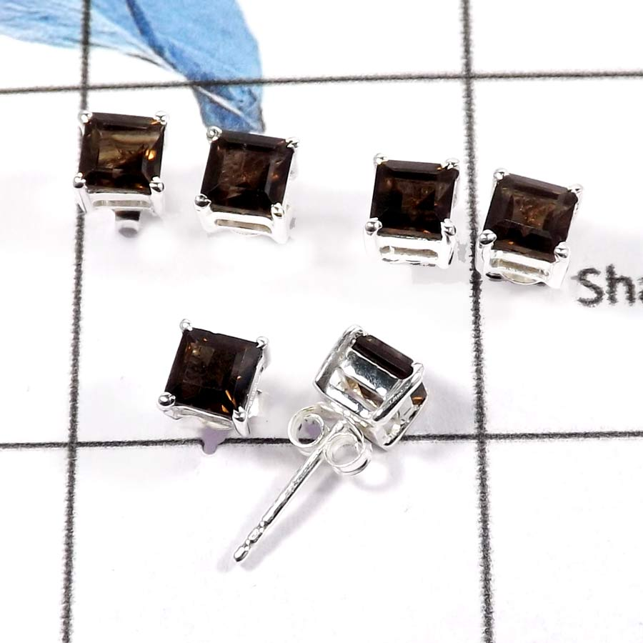 Smokey Quartz Cut E - SSE846-Beautiful Faceted Cut Wholesale Lot Stud Earrings 925 Sterling Silver
