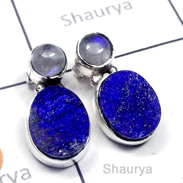 Lapis Rough Druzy D - SSE993-Small Size Exclusive Silver Stud Earring