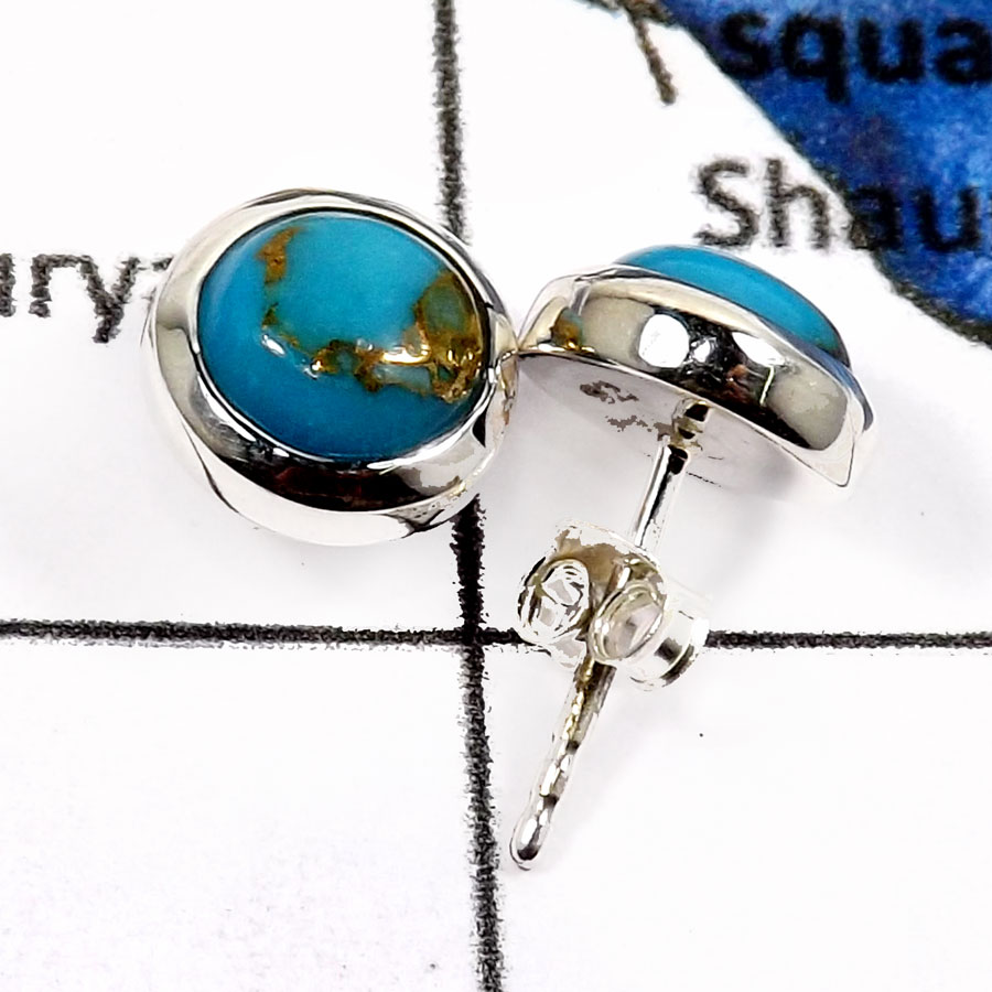 Blue Copper Turquoise G - SSE841-Natural Cabochon Gemstones Party Wear Stud Earrings 925 Sterling Silver