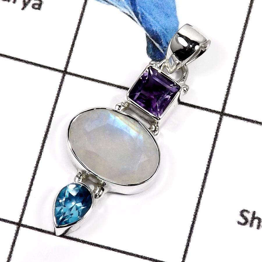 Amethystrainbow moonstone blue topaz b isp549 elegant three cut amethystrainbow moonstone blue topaz b isp549 elegant three cut stone handmade womens pendants 925 sterling silver aloadofball Images