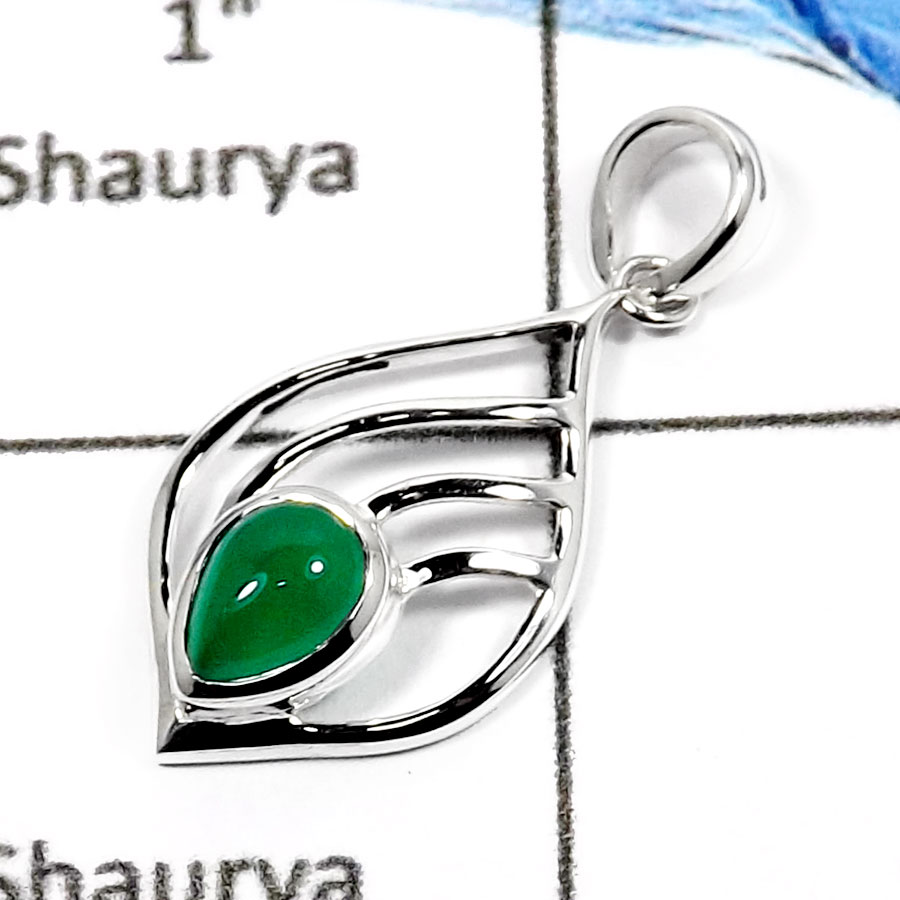 Green Onyx H - CSP907-Attracting Latest Design Fashionable Casting Pendants 925 Sterling Silver