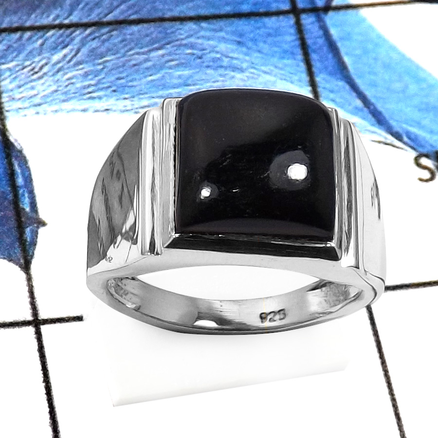 Black Onyx A - RSS832-Natural Cabochon Gemstones Handmade Wedding Rings 925 Sterling Silver