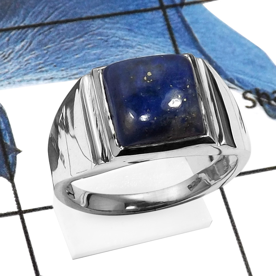Lapis Lazuli E - RSS832-Natural Cabochon Gemstones Handmade Wedding Rings 925 Sterling Silver