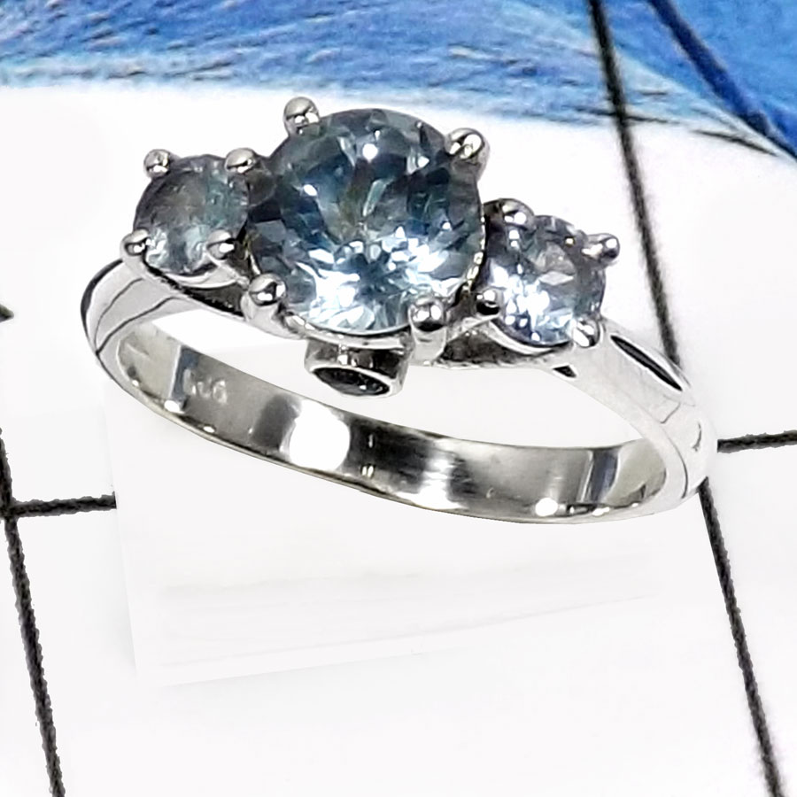 Blue Topaz H - RSS816-Stunning Three Stone Cut Gemstone Wedding Rings 925 Sterling Silver