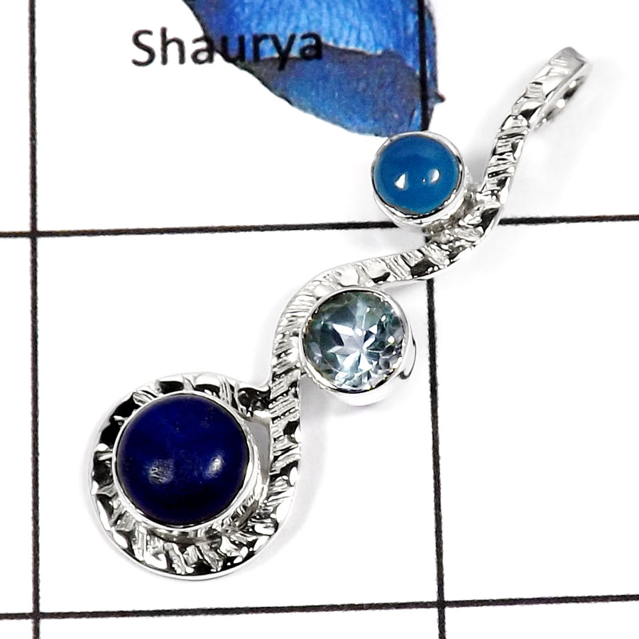 Blue Chalcedony,Blue Topaz & Lapis Lazuli N - SD414-Classic New Design Designer Fashion Pendants 925 Sterling Silver