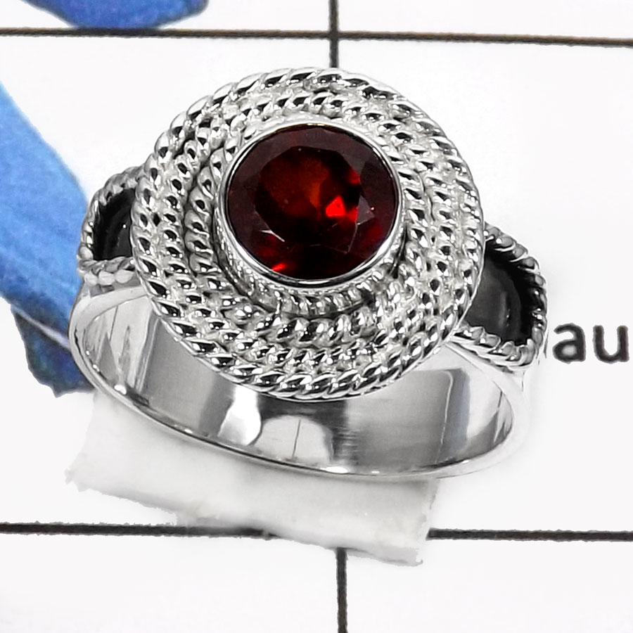 Garnet Cut A - RSS793-Valentine Special Stunning Cut Gemstone Fashion Ring 925 Sterling Silver