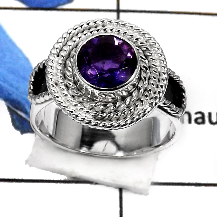Amethyst Cut B - RSS793-Valentine Special Stunning Cut Gemstone Fashion Ring 925 Sterling Silver