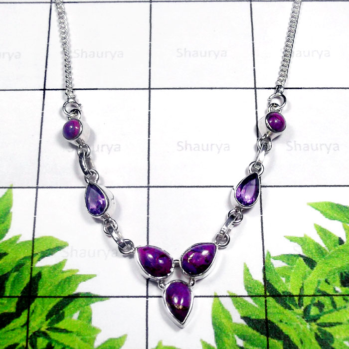 Purple Turquoise C - SDN995-Exclusive Silver Semiprecious Gemstone Gorgeous Necklace