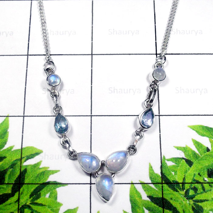 Rainbow Moonstone F - SDN995-Exclusive Silver Semiprecious Gemstone Gorgeous Necklace