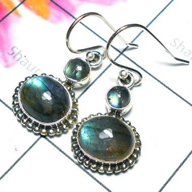 Labradorite D - SDE941-Fabulous Oxidized Earring with Natural Gemstone