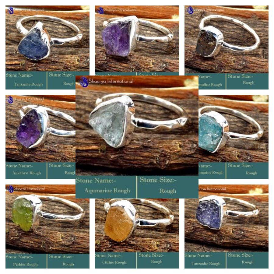 100 Rings wholesale in Natural Rough Stones and 925 Sterling Silver- RFR100RWL