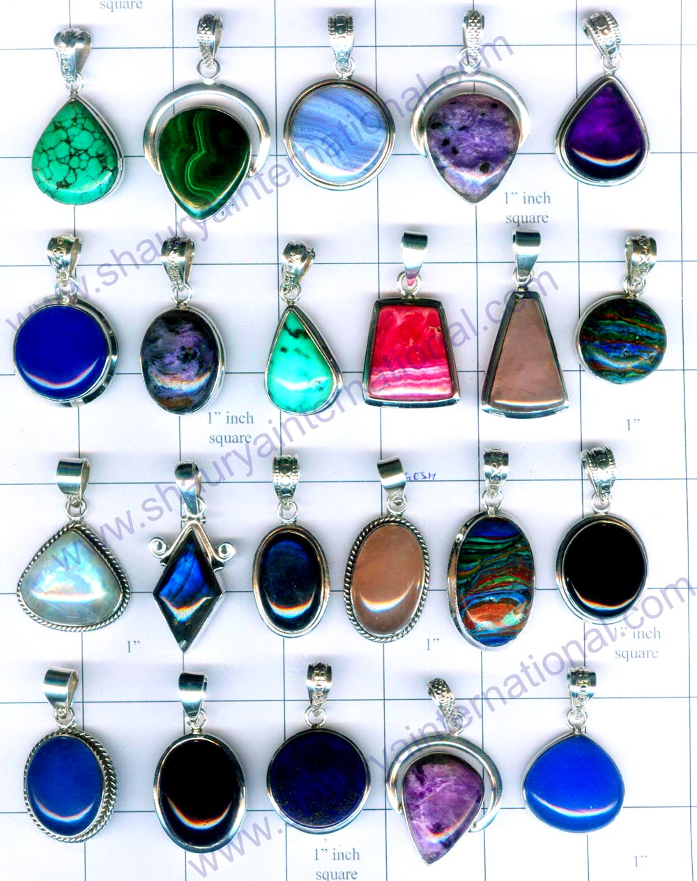 Small gemstone light weight Free size pendants from Jaipur India